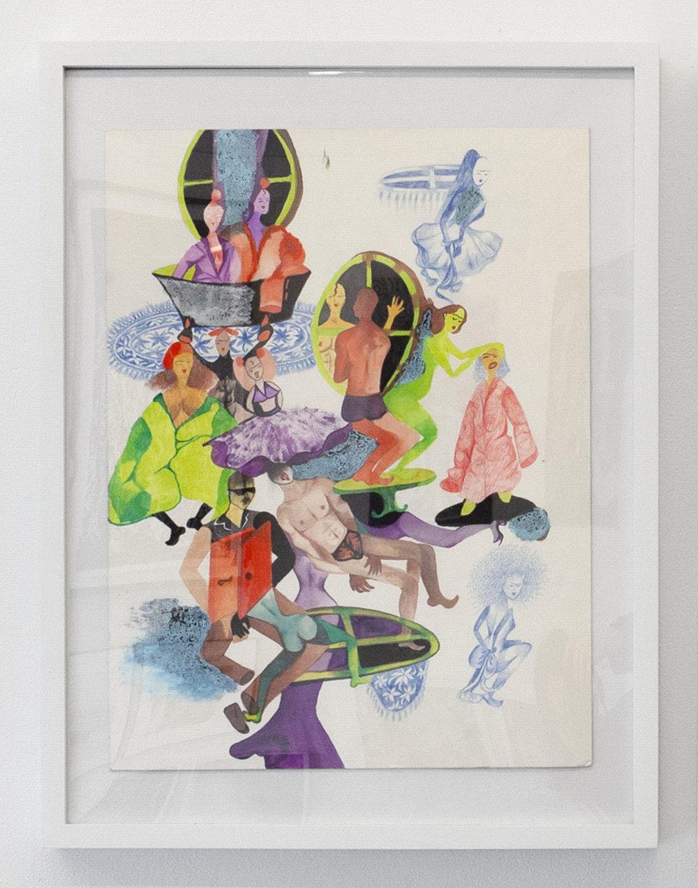 Sadaf H Nava, La Fatigue D'Etre Soi, 2019. watercolor, oil stick, and pencil on archival board
