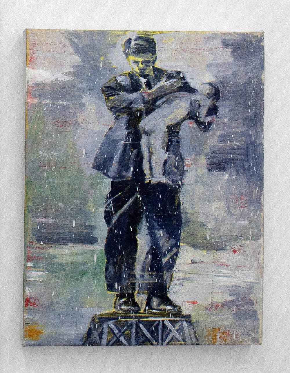 "Nicky Nodjoumi, Spanking The Bad Boy, oil on canvas, 15""x11 1/2"", 2015"
