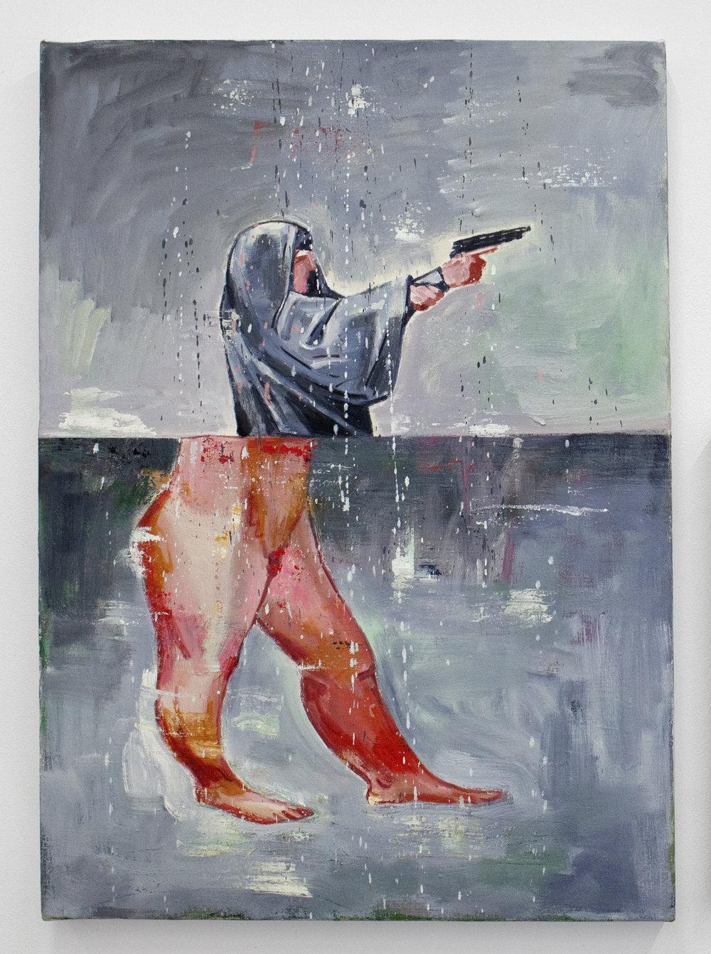 "Nicky Nodjoumi, First Steps, oil on canvas, 27"" x 19 1/2"", 2005"