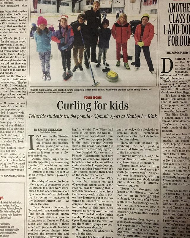 The first ever Telluride Curling Club kids curling clinic was a great success on Friday, thanks to the help of our great volunteers! #goodcurling #telluride @telluridedailyplanet
