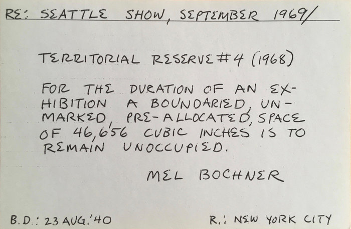 Artwork: Mel Bochner's instruction for Lucy Lippard's 'Numbers'-exhibition, 1969