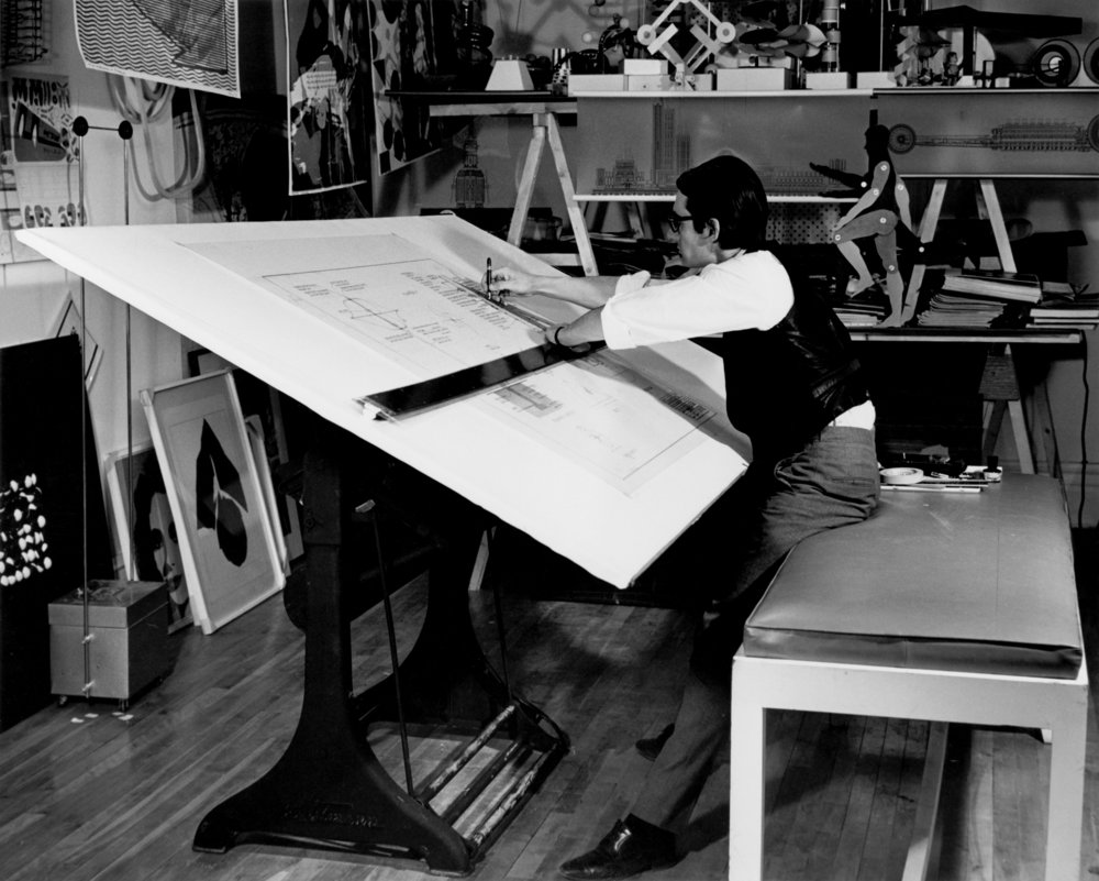 François Dallegret at his drawing board for Expo 67, 1966