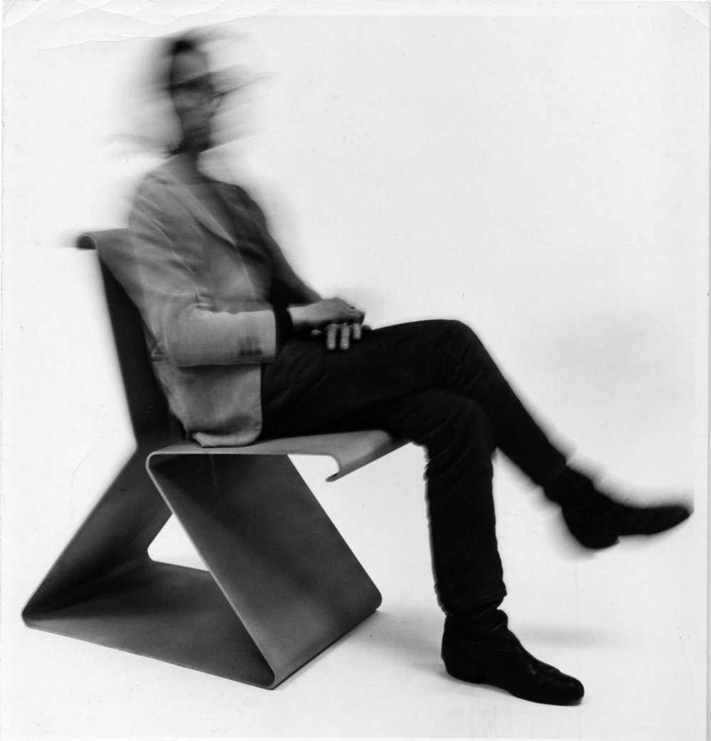 CHAISE RESSORT, 1967 A machine is a contrivance whose related parts function in tandem for the performance of work. Unlike many chairs, which are static platforms, Dallegret's Chaise Ressort reacts against the sitter. The single sheet of formed aluminum relaxes and adjust to the user's weight and posture, a dynamic response in contradiction to its rigid appearance. 'Ressort' means 'spring': the chair recovers its shape after compression. Albeit a simple engine, chair and body together convert force into motion. (Josef Hoffmann's adjustable armchair is a Sitzmaschine in name only). Photo: Shunk-Kender