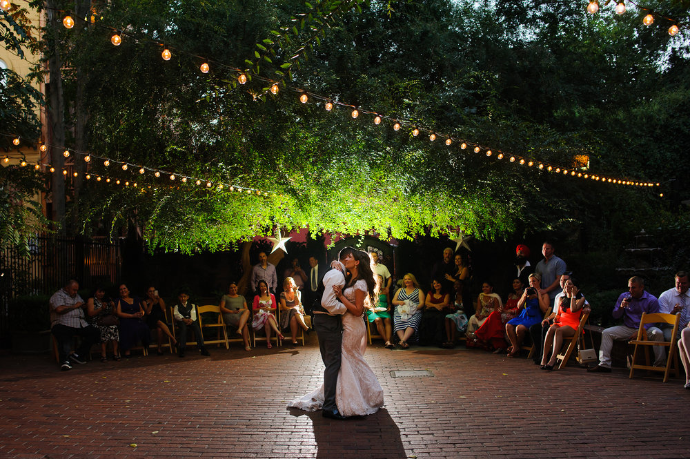 Beautiful first dance during wedding at Courtyard D'Oro in Sacramento California.