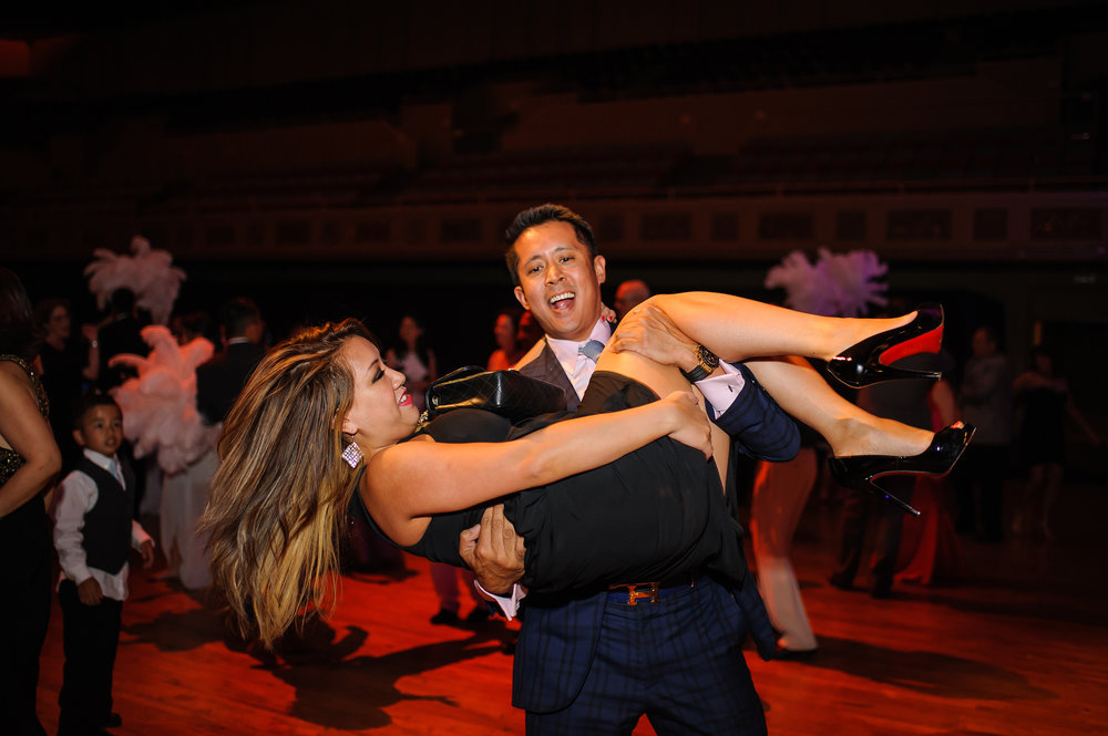 Dancing photo during wedding at Memorial Auditorium in Sacramento California.