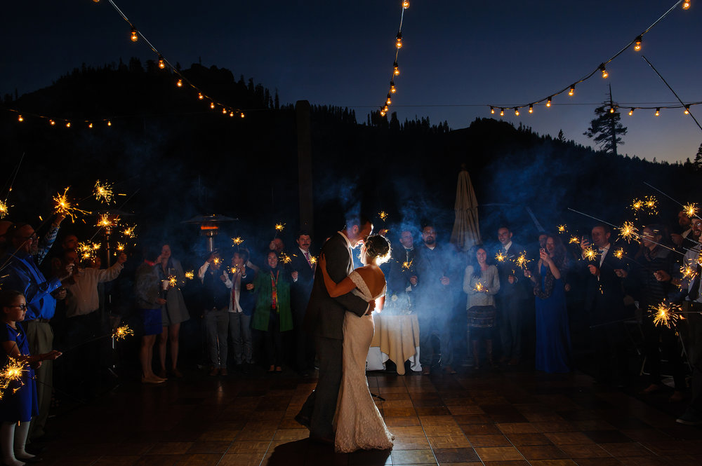 Sparklers during first dance wedding at Sugar Bowl Ski Resort in Tahoe California
