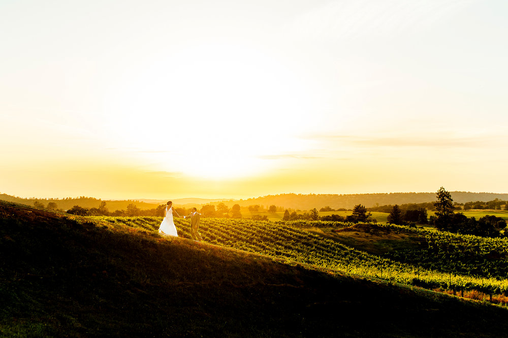 Epic sunset wedding portrait at Helwig Winery in Plymouth California.