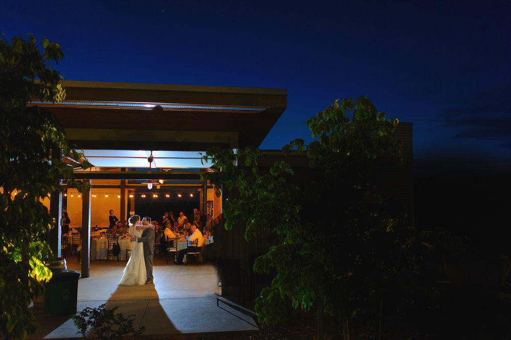 Bride and grooms first dance during wedding at Helwig Winery in Plymouth California.