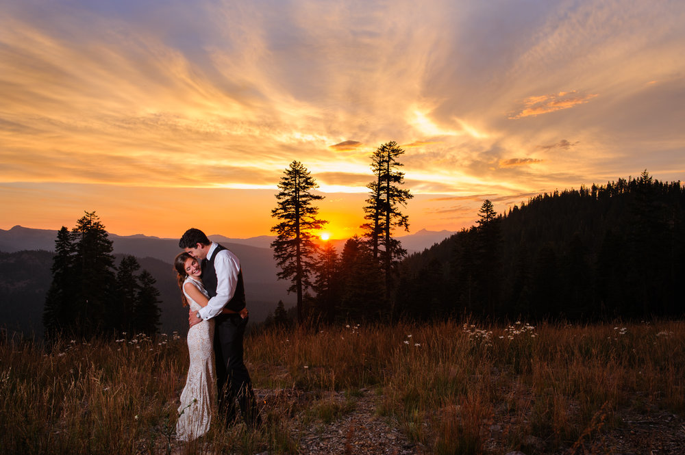 Wedding photo of bride and groom at Northstar California Resort in Truckee California.