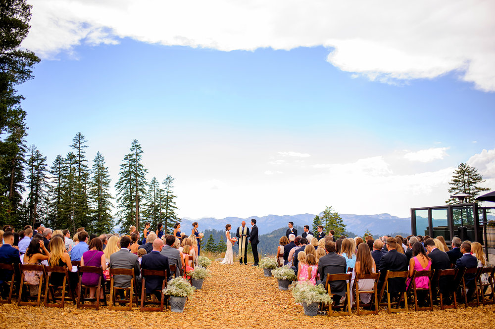 Wedding ceremony at Zephyr Lodge at Northstar California Resort in Truckee California.