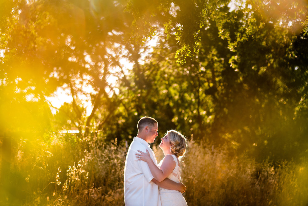 Wedding portrait of bride and groom at backyard wedding in Elk Grove California.