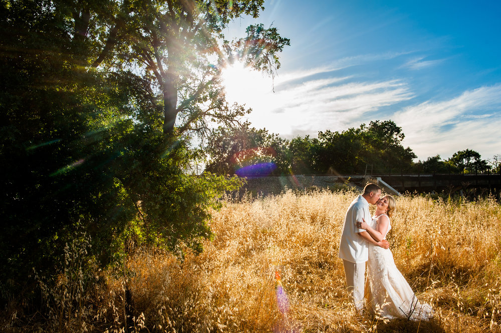 Bride and groom portrait during backyard wedding in Elk Grove California.