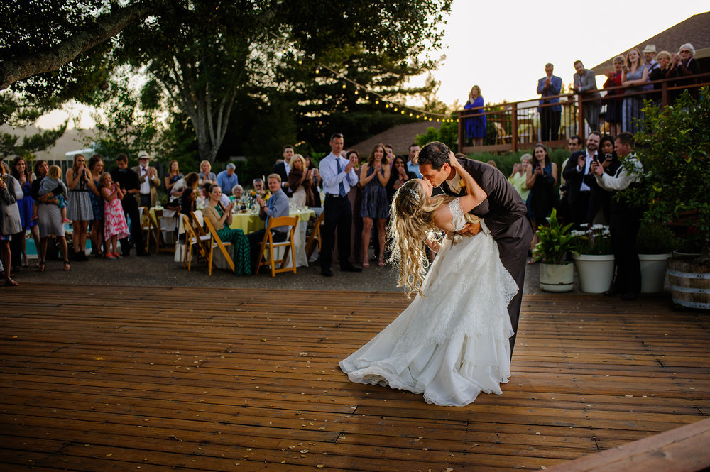First dance during wedding in Sonoma California.