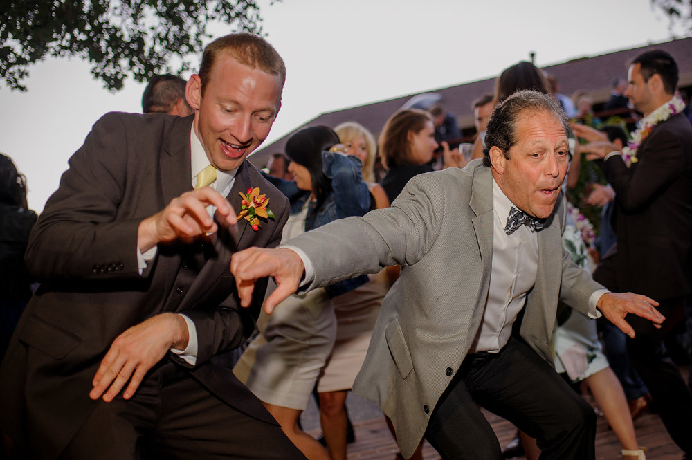 Dancing during reception of backyard wedding in Sonoma California.