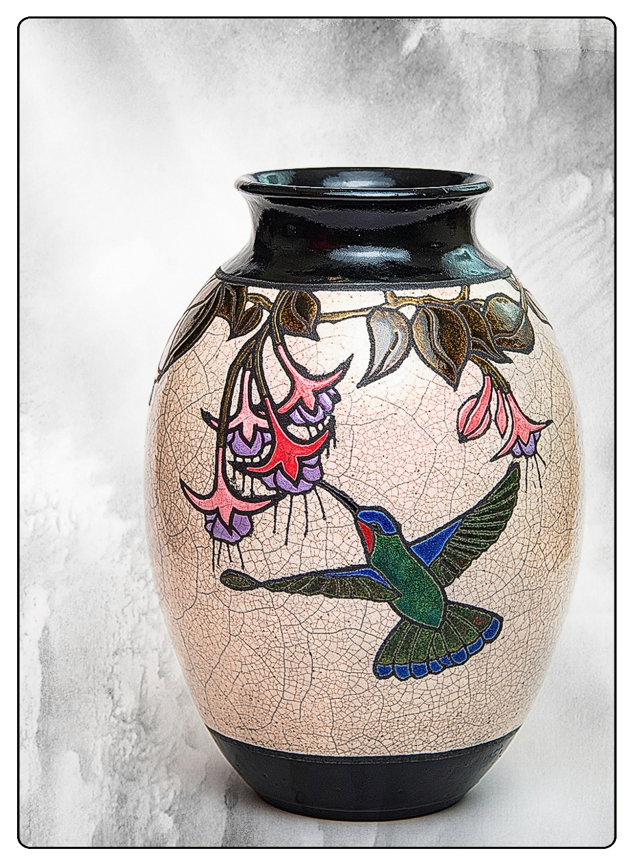Hummingbird and Fuschias Vase