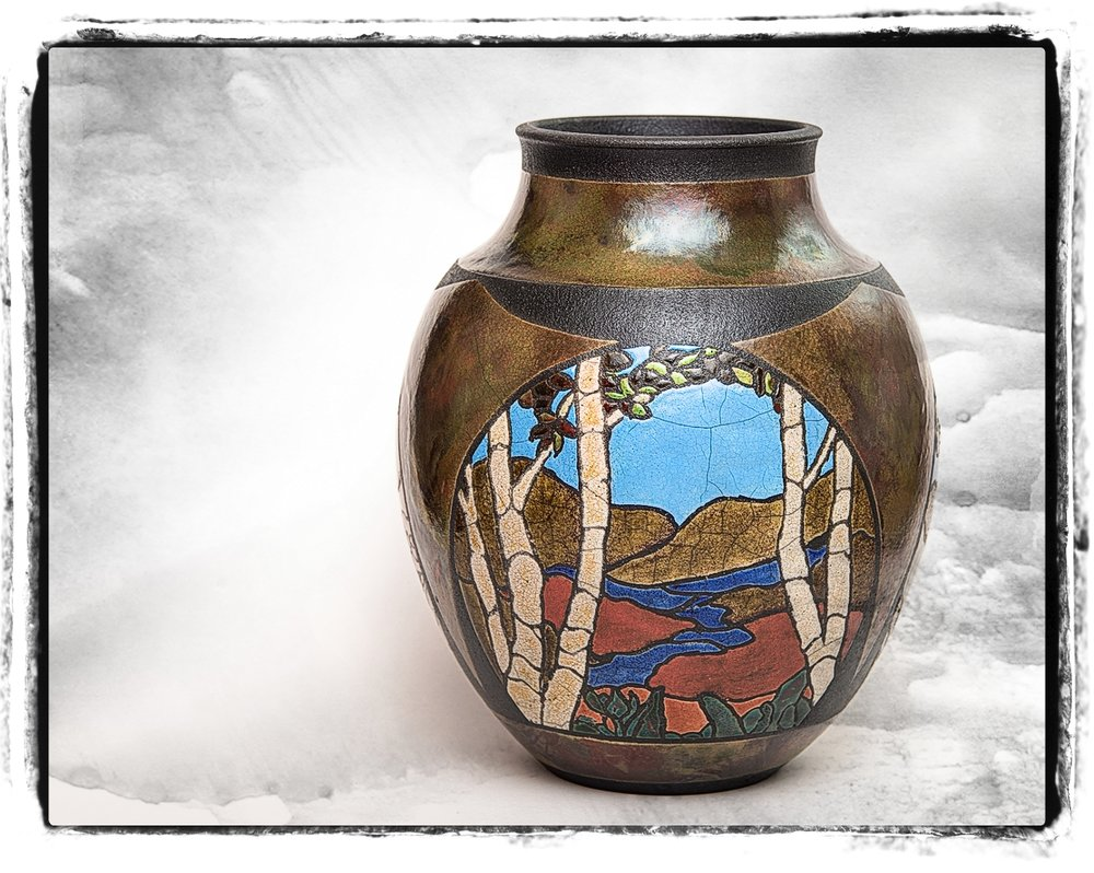 Arts and Crafts Three Scene Vase