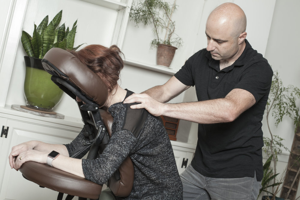 In addition to traditional table massage, David offers on site chair massage for your office or workplace.