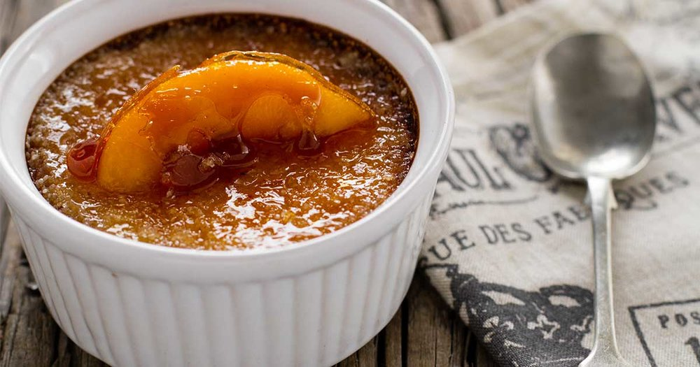 A sneak-peek at Iron Goat's 2018 Canmore Uncorked dessert selection: peach bourbon crème brûlée - and how you can make it at home! (Photo: RhodesQuality.com)