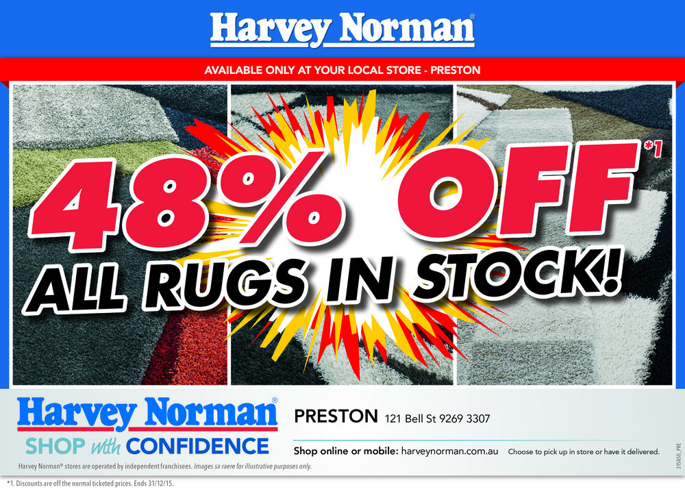 """Rugs Stocktake"" Half-Page Ad"