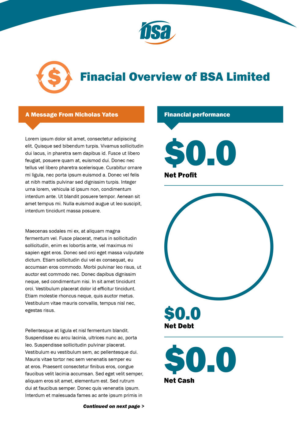 Financial Overview Template, Cover