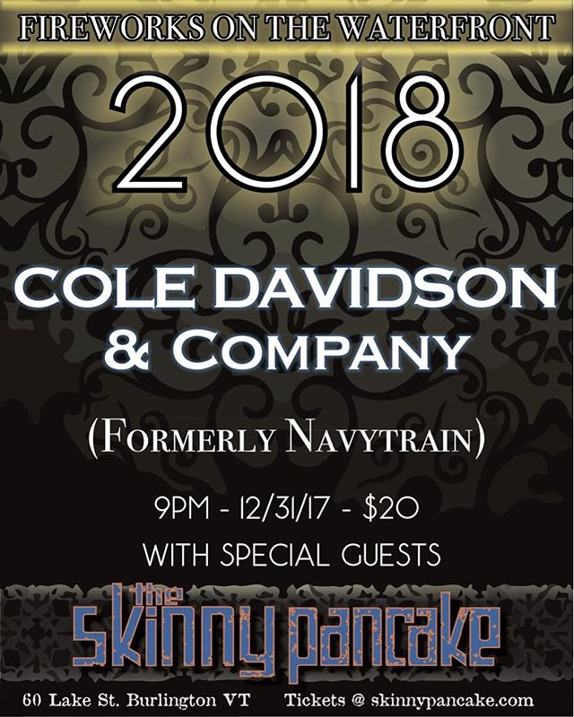"""We would like to announce that Cole Davidson, founder of Navytrain, will be continuing to do what he loves in his favorite city. What better way to debut the new project than with a party? Cole Davidson brings you """"Cole Davidson & Company"""" for a fun-filled New Year's Eve night. The stoke will be at an all time high and the fireworks (yes, real fireworks) will be even higher. THE Skinny Pancake with Cole Davidson & Company is the place to be on NYE. Get your tickets now! Link is in the bio."""