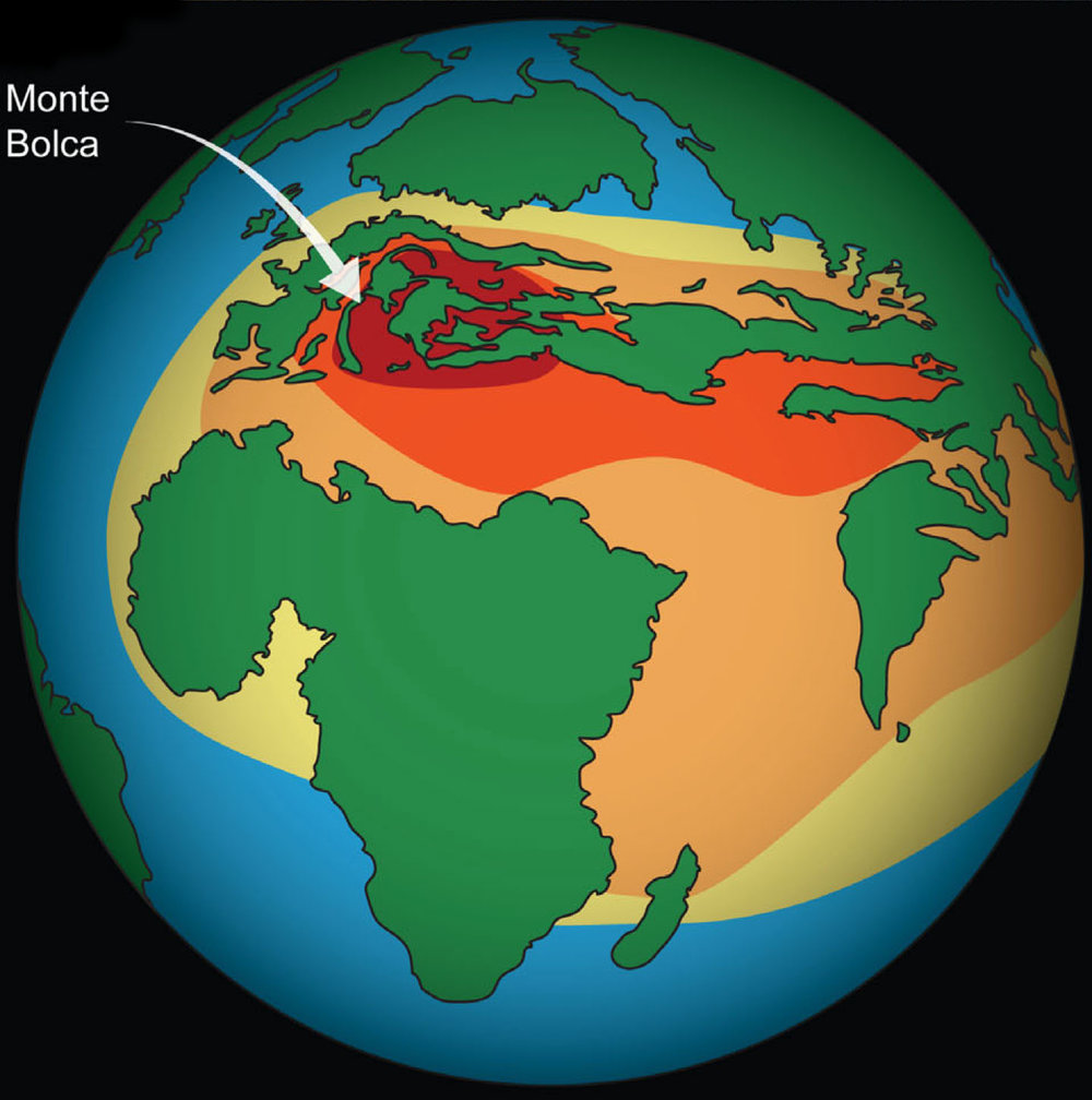 World map showing the area of greatest marine biodiversity 50 million years ago.