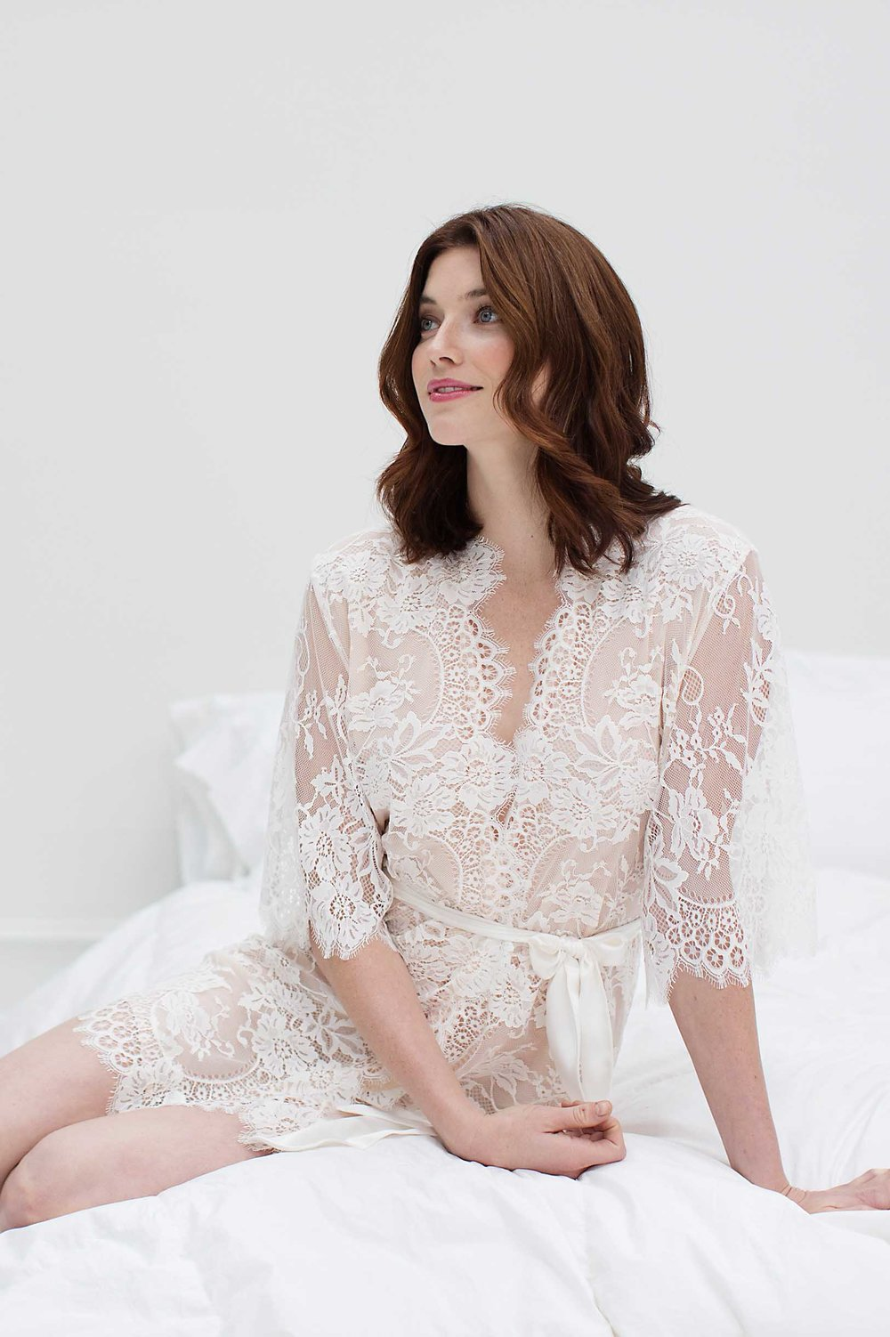 bcb912be022 Swan Queen lace robe ivory blush lined 104SH getting ready wedding day.jpg
