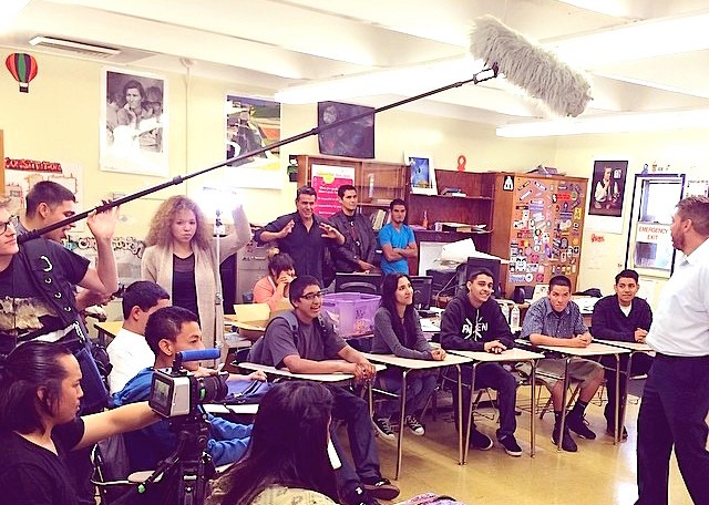 STUDENTS AT HIGHLAND PARK HIGH SCHOOL IN LOS ANGELES SHOOT THEIR FIRST MOVIE SHORT.