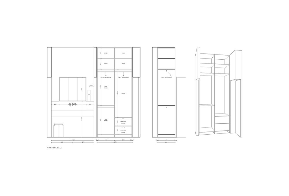 preliminary design / final design execution file / custom made furniture design copyright: fabien van tomme