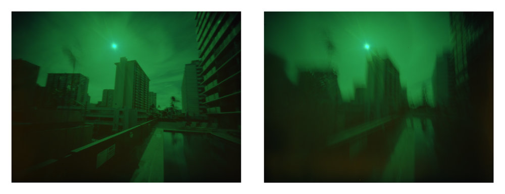 """Downtown Honolulu at 970mph"" 2016.  Archival Pigment Print from 4x5"" X-Processed Color Slide Film.  17x44"""