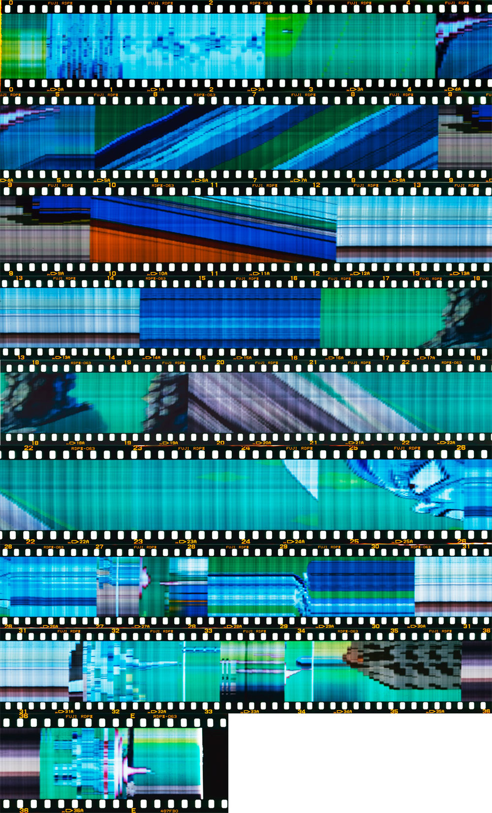 """55 Seconds of Dragon Ball Z"" 2015.  Nine Archival Pigment Prints from 35mm Film.  85x44"""