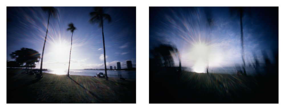 """Ala Moana Beach Park at 970mph"" 2016.  Archival Pigment Print from 4x5"" Color Slide Film.  17x44"""