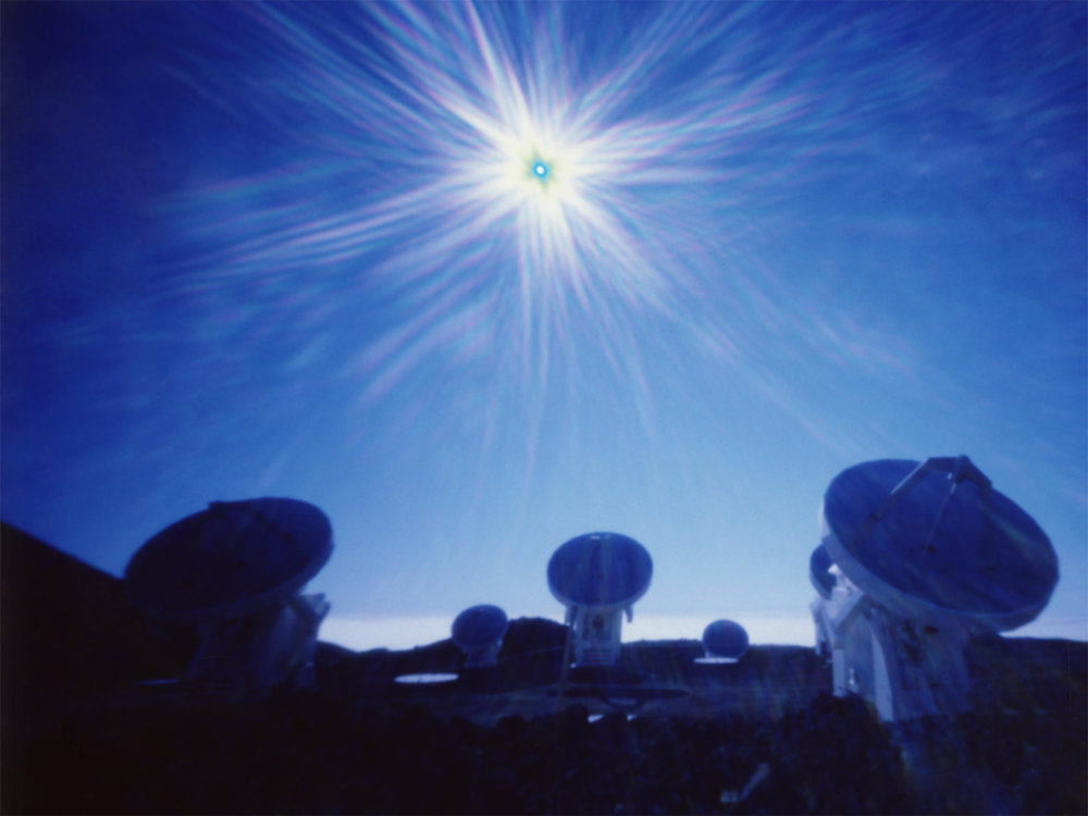 """Sub-Millimeter Array at 970MPH"" Archival Pigment Print from Fujifilm FP-100C Instant Picture, 30""x40"", 2017."