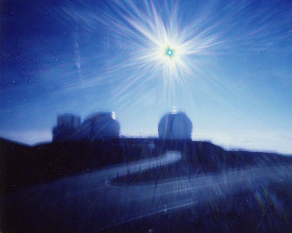 """Keck Telescopes at 970MPH: Seven Minutes"" Fujifilm FP-100C Instant Picture, 3.25""x4.25"", 2017."