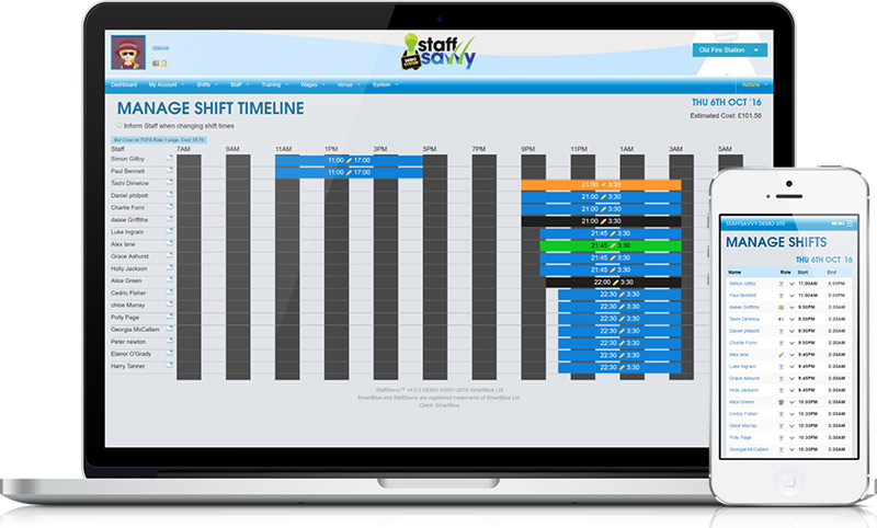 Five different ways to schedule your staff shifts including fully automatic bulk rotas.