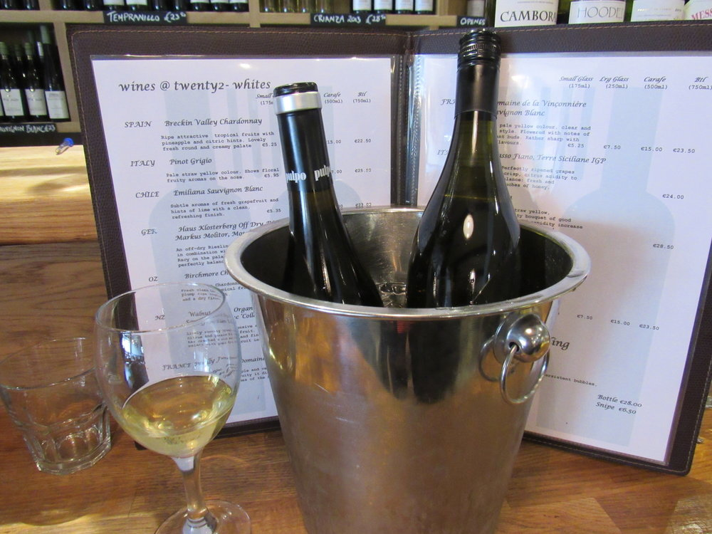 wines by the glass at twenty2 restaurant, dublin 9