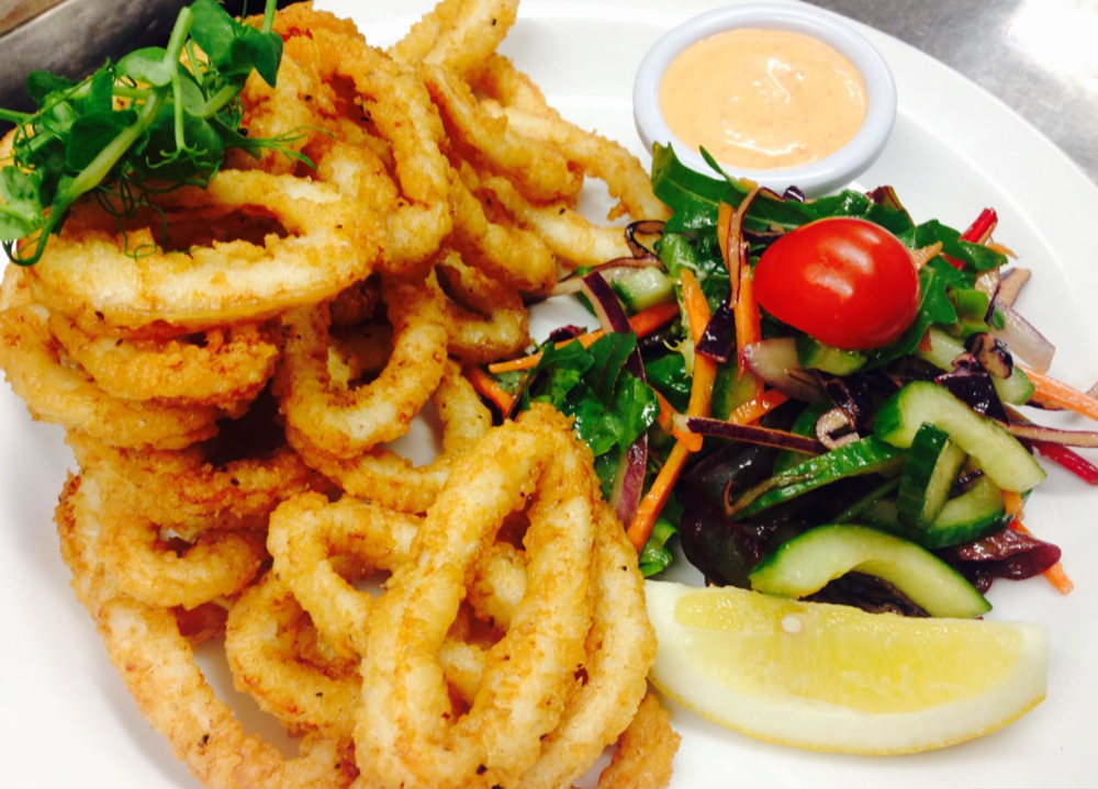 calamari tapas at the brass monkey seafood restaurant, Howth