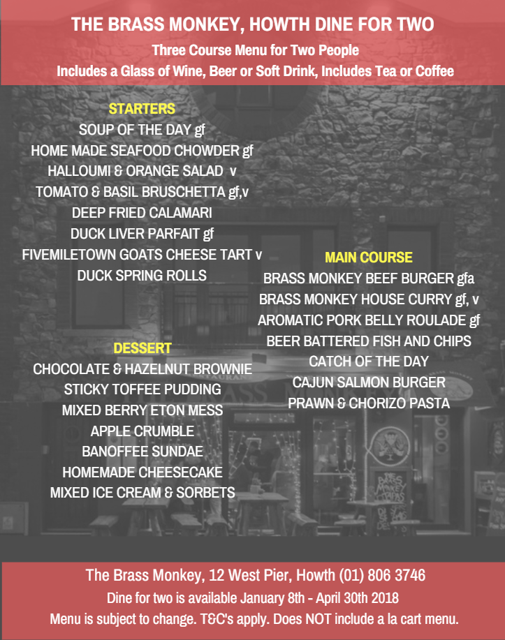dine for two menu at brass monkey