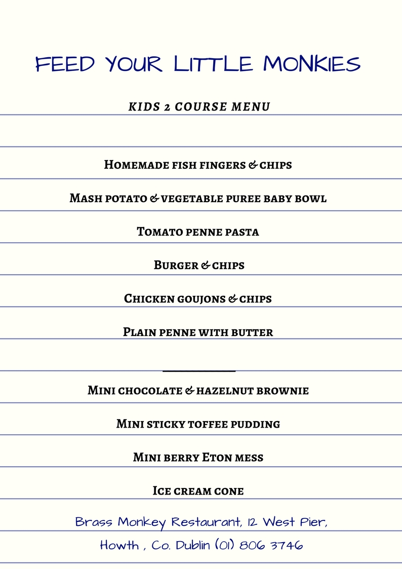 kids eat free offer at brass monkey howth