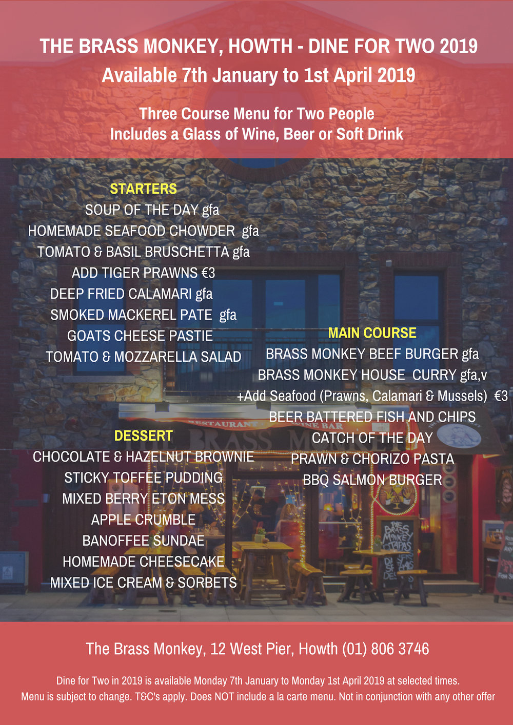 Dine for Two 2019 sample menu at The Brass Monkey restaurant, Howth
