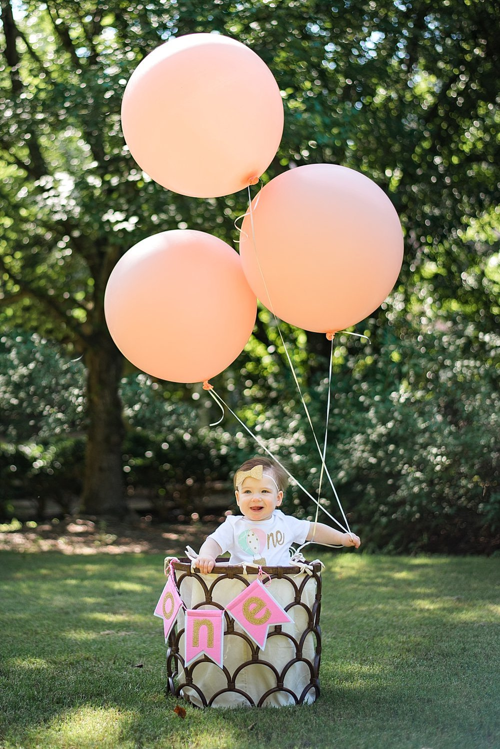 Baby girl in basket with balloons