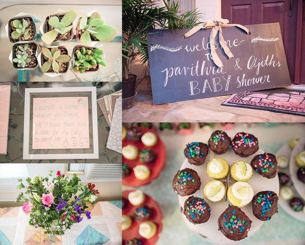 succulents, flowers, baby shower decor