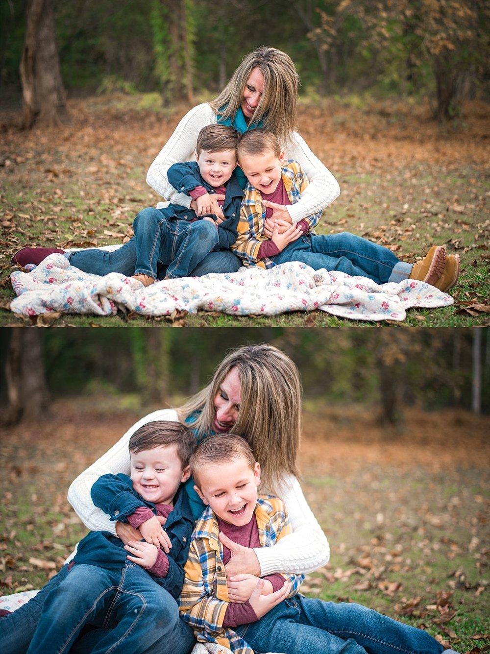 mom and two boys on blanket, cuddling and laughing