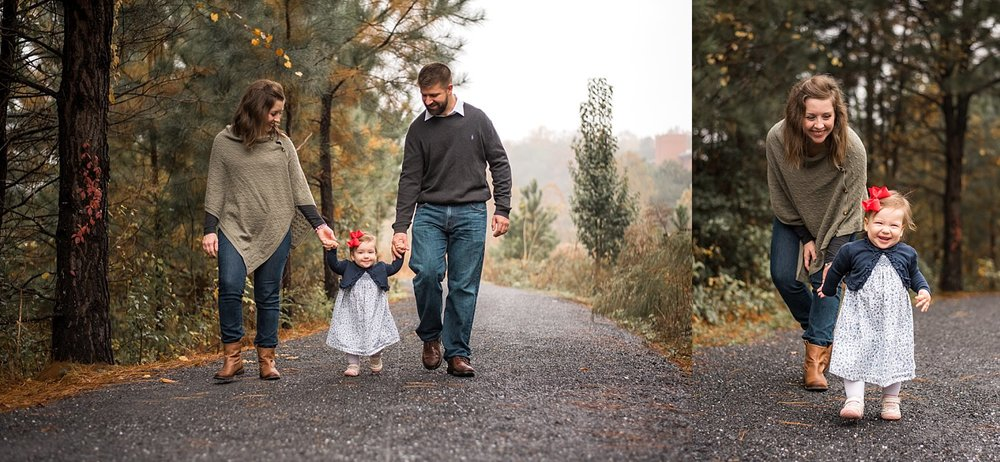 Family of 3 walking on path at Garrard Landing Park in Roswell, GA