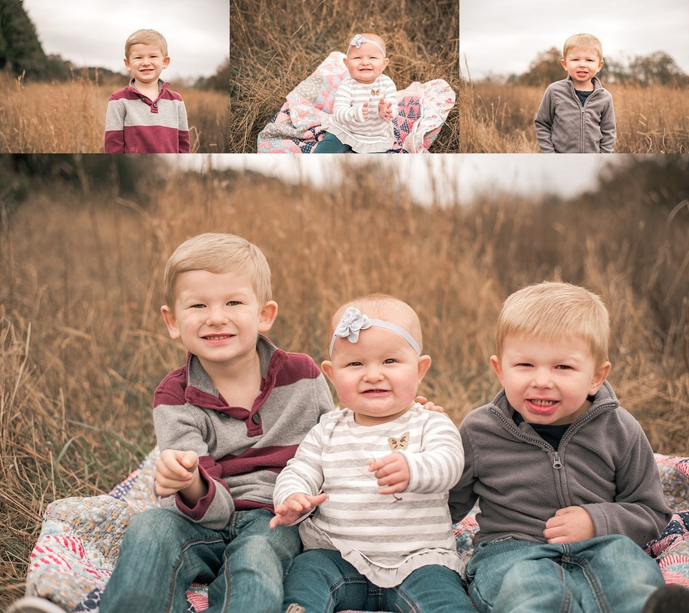 Collage of 2 brothers and sister at Berry Patch Farms, Woodstock, GA