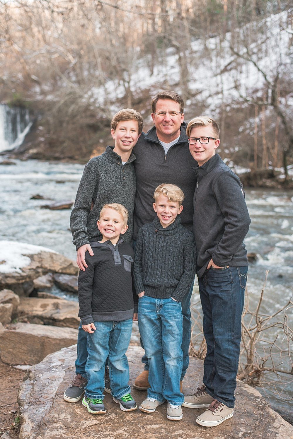 Father and 4 sons at Roswell Mill Waterfall