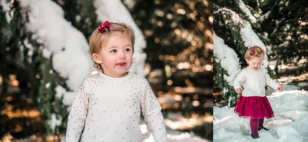 toddler girl in snow at Berry Patch Farms, Woodstock, GA