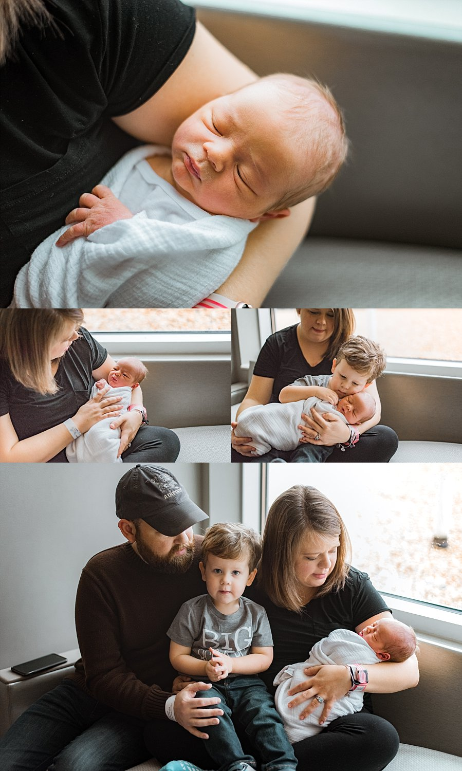 Family with new baby at hospital | Why you should hire a Fresh 48 Photographer | adriennelouisephotography.com