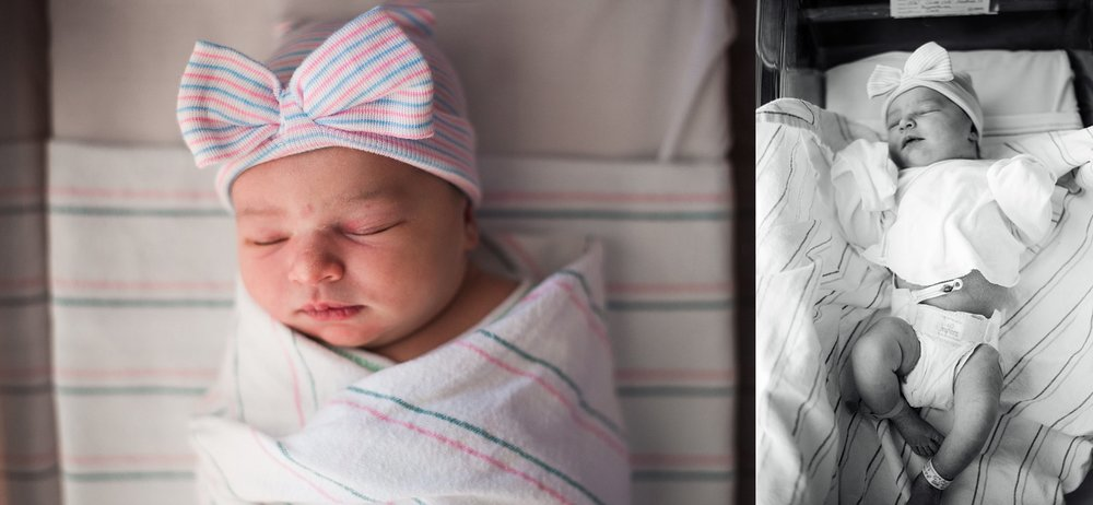 baby girl sleeping swaddled in hospital bassinet