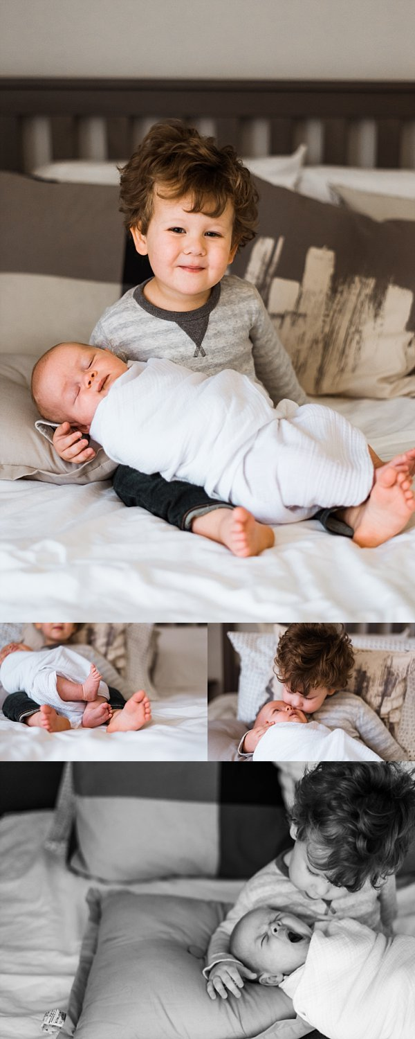 pictures of newborn baby boy with toddler brother snuggling on bed
